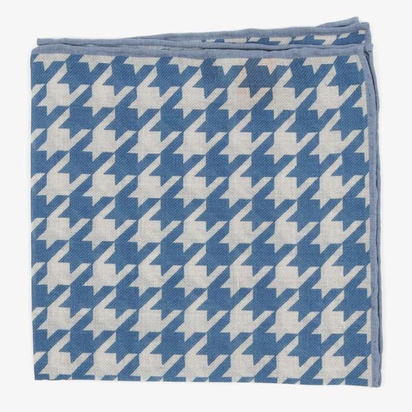 Large Houndstooth Blue Pocket Square