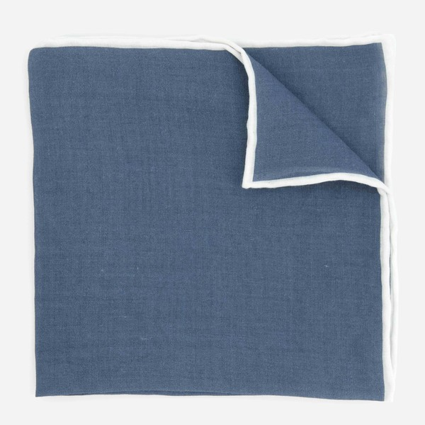 Linen with White Border Denim Blue Pocket Square