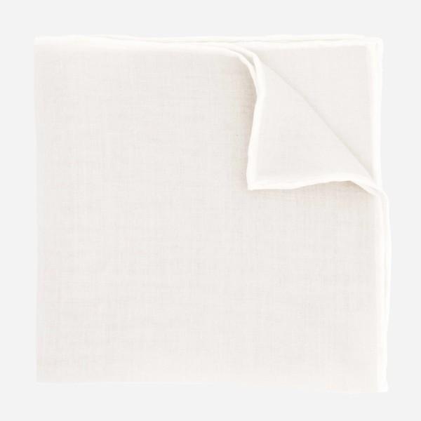 Linen with White Border Light Grey Pocket Square