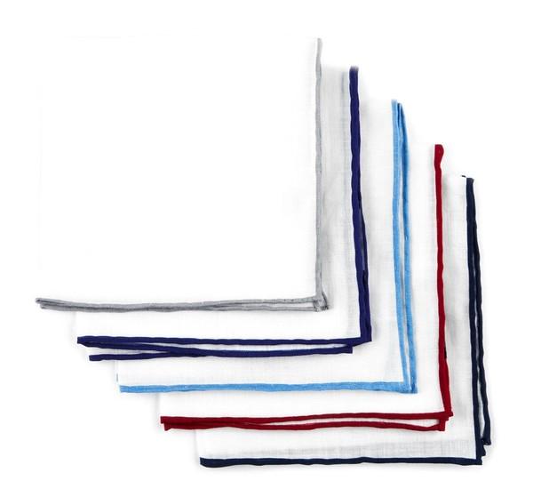 Basic Colored Border Pack White Pocket Square