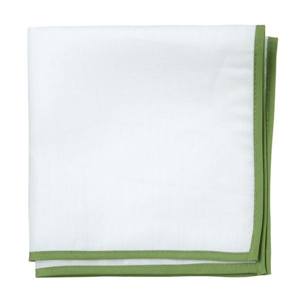White Linen With Border Clover Pocket Square