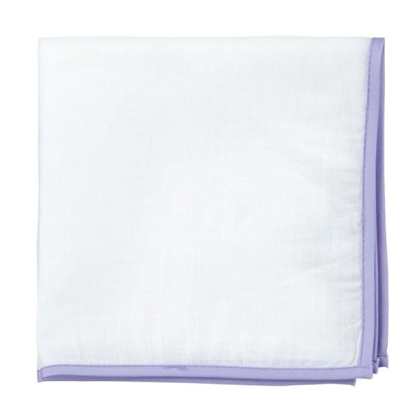 White Linen With Border Lavender Pocket Square