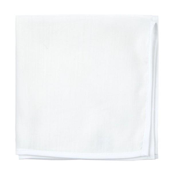 White Linen With Border Contrasting White Pocket Square