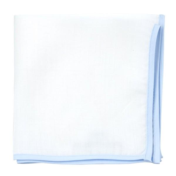 White Linen With Border Light Blue Pocket Square