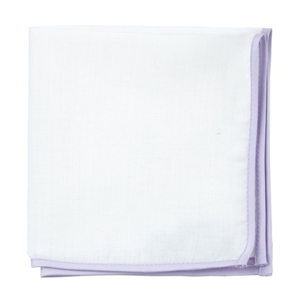 White Linen With Border Lilac Pocket Square