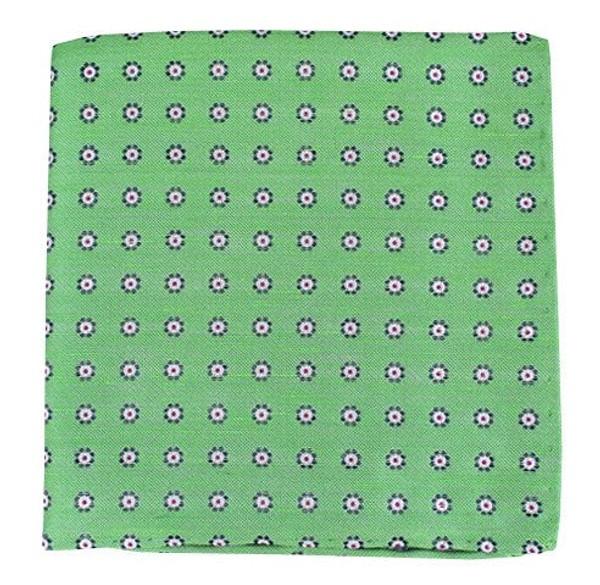 Half Moon Floral Apple Green Pocket Square