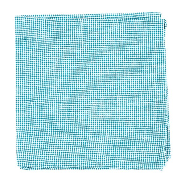 Verse Check Green Teal Pocket Square