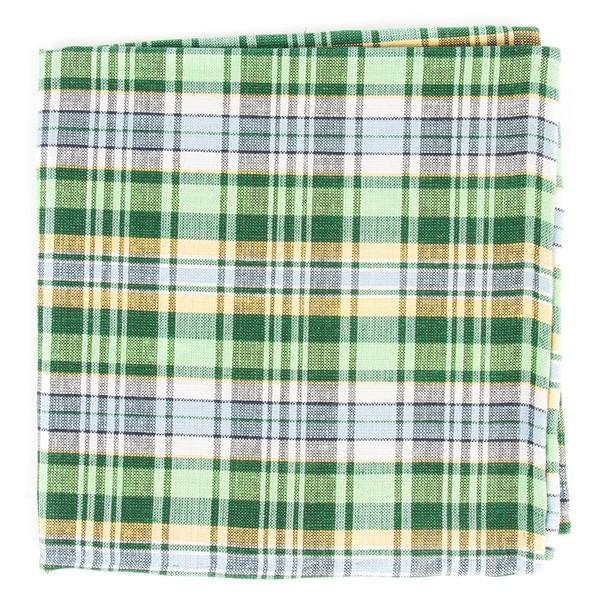 Rnr Plaid Greens Pocket Square
