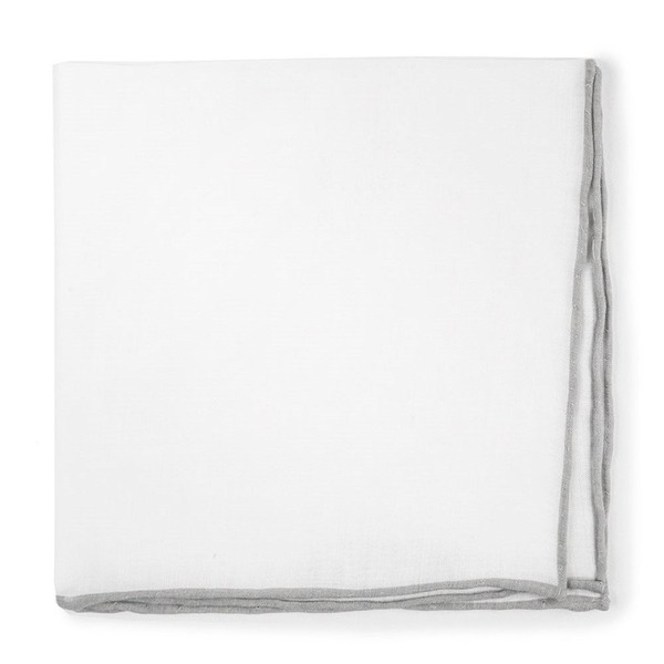 White Linen With Rolled Border Silver Pocket Square