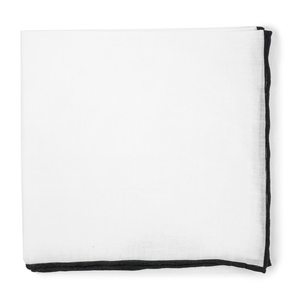 White Linen With Rolled Border Black Pocket Square