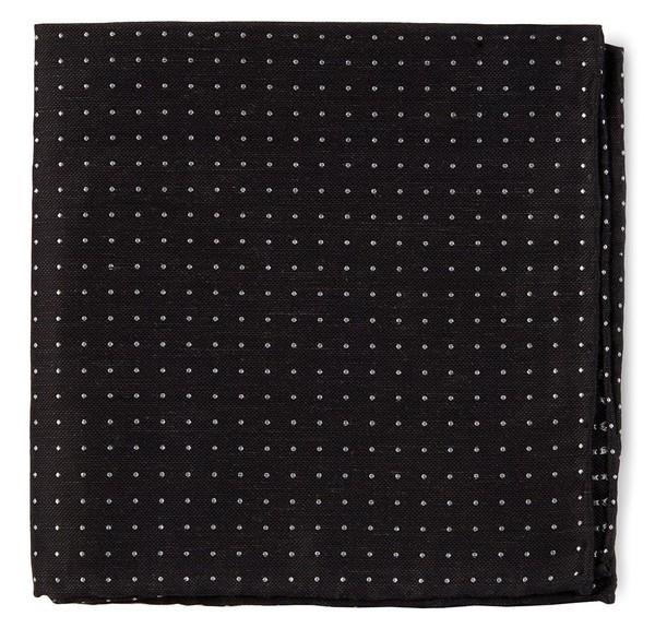 Rivington Dots Black Pocket Square
