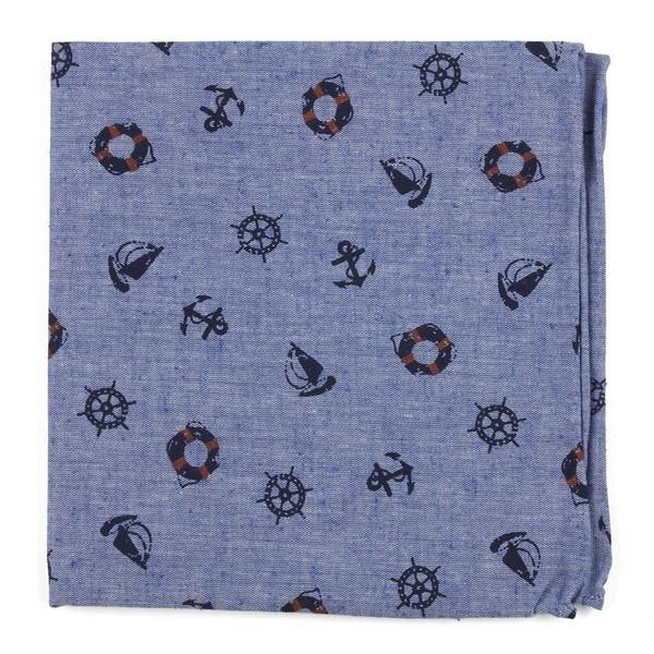 On Deck Warm Blue Pocket Square