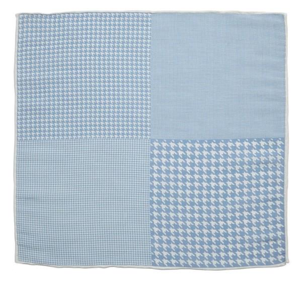 Linen Houndstooth Pane Light Blue Pocket Square