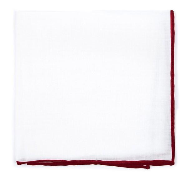 White Linen With Rolled Border Burgundy Pocket Square