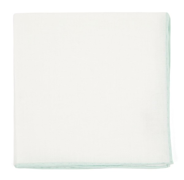 White Linen With Rolled Border Spearmint Pocket Square