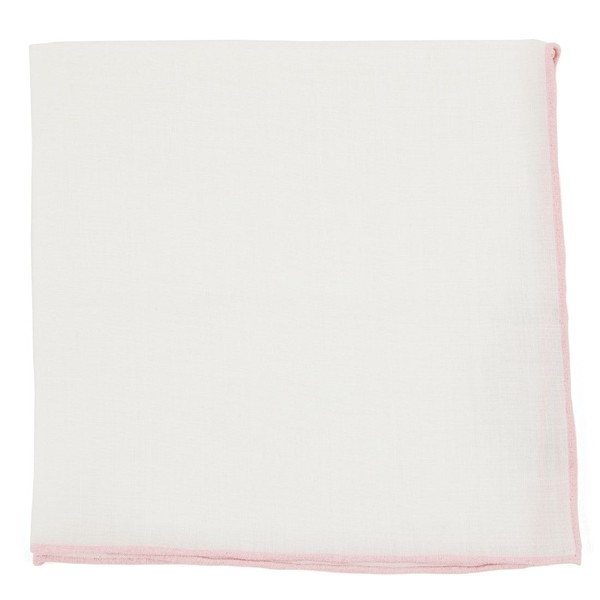 White Linen With Rolled Border Blush Pink Pocket Square