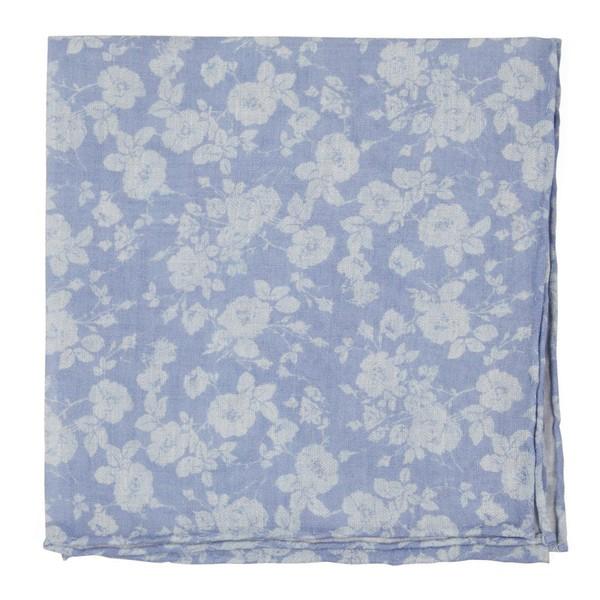 Linen Buds Light Blue Pocket Square