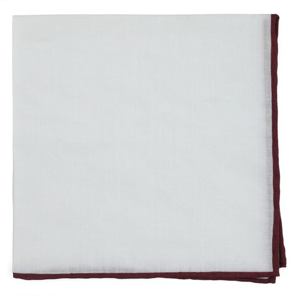 Bhldn White Linen With Rolled Border Black Cherry Pocket Square
