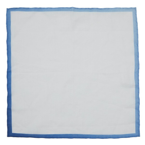 White Linen With Ombre Border Blue Pocket Square
