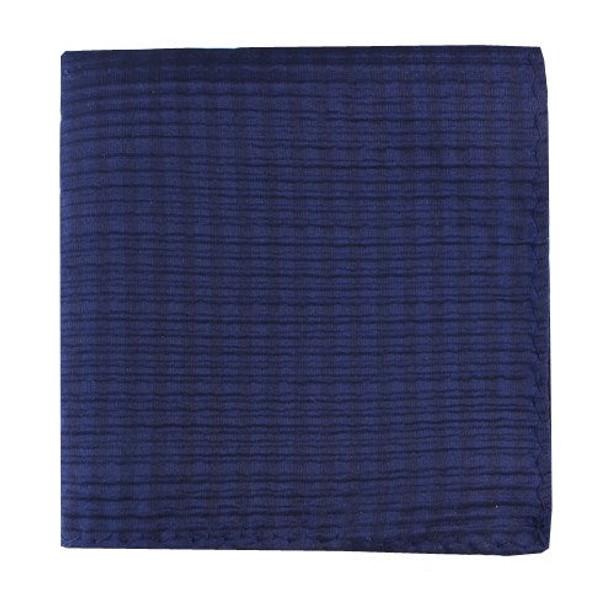Silk Seersucker Solid Navy Pocket Square