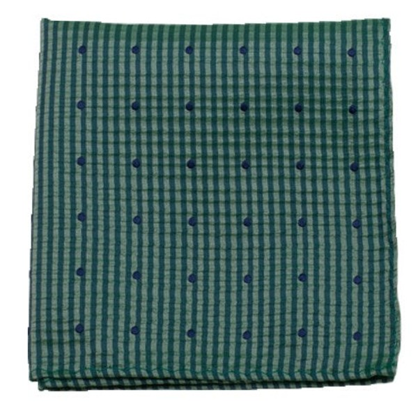 French Kiss Green Teal Pocket Square