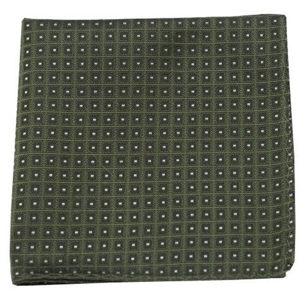 Wacker Drive Checks Dark Clover Green Pocket Square