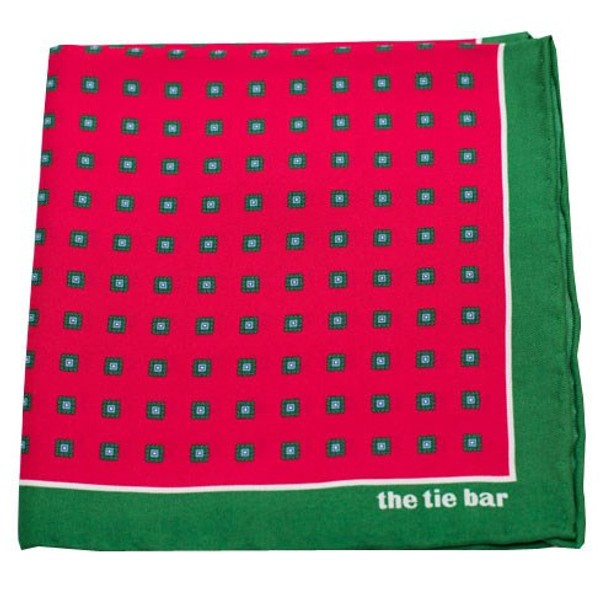 Noble Grid Berry Pocket Square