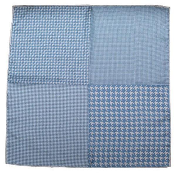 Houndstooth Panel Light Blue Pocket Square