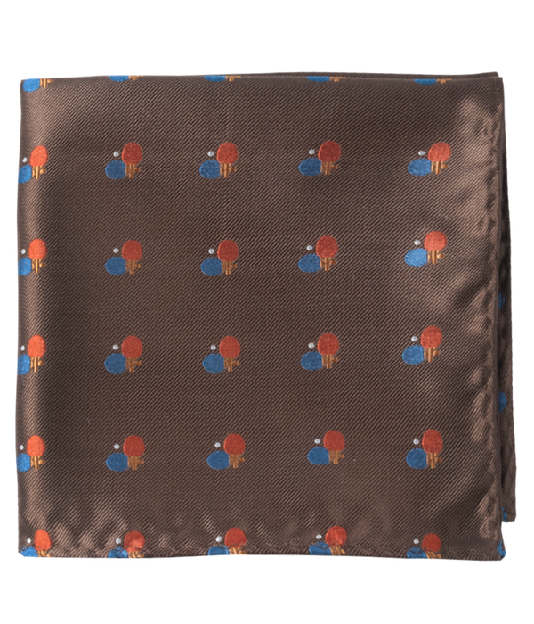 Game On Chocolate Brown Pocket Square