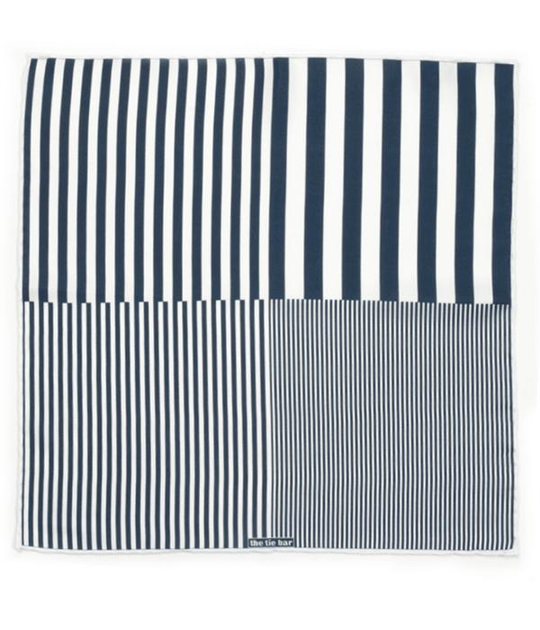 Stripe Measure Navy Pocket Square