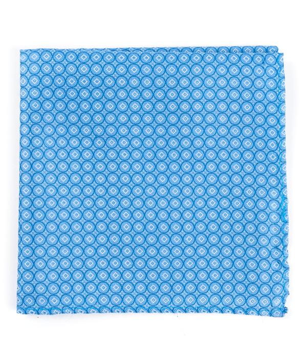 Medallion Form Light Blue Pocket Square