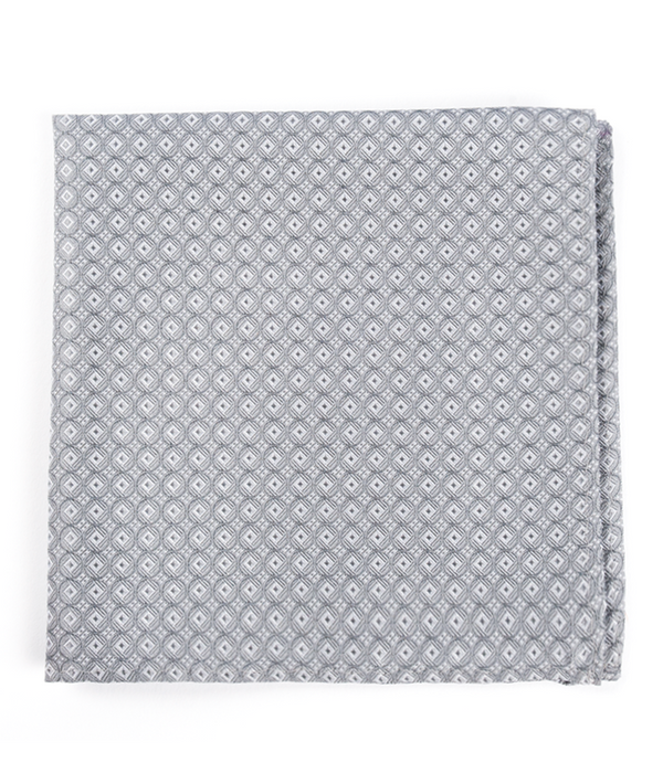 Medallion Form Silver Pocket Square