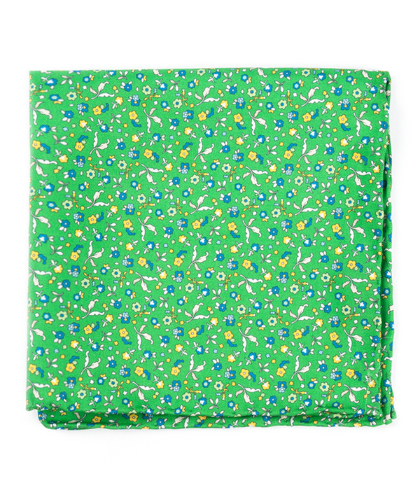 Fentone Floral Kelly Green Pocket Square