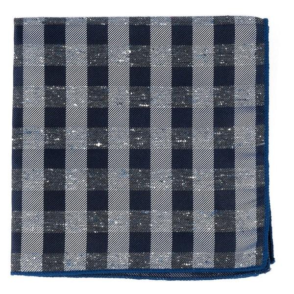 Splattered Gingham Deep Slate Blue Pocket Square