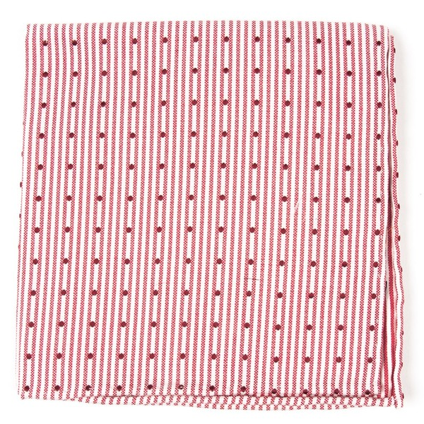 Down The Aisle Dots Red Pocket Square