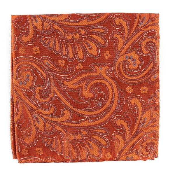 Paisley Phase Orange Pocket Square