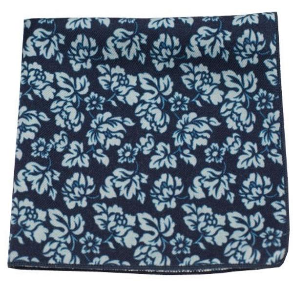 Serpentine Floral Navy Pocket Square