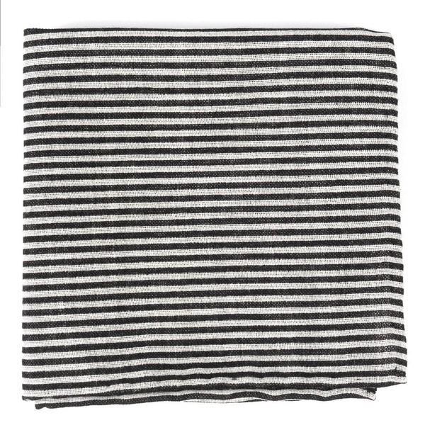Draft Stripe Black Pocket Square