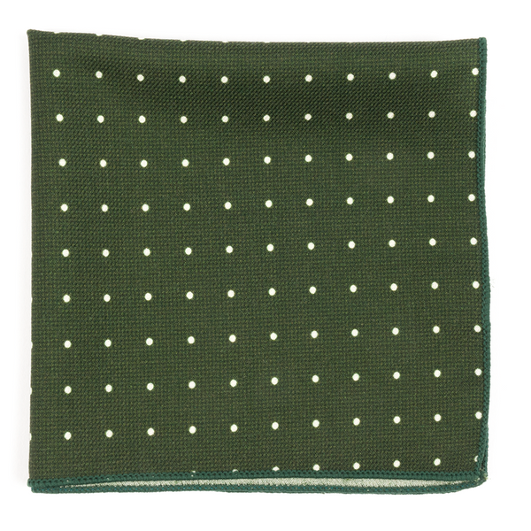 Primary Dot Dark Clover Green Pocket Square