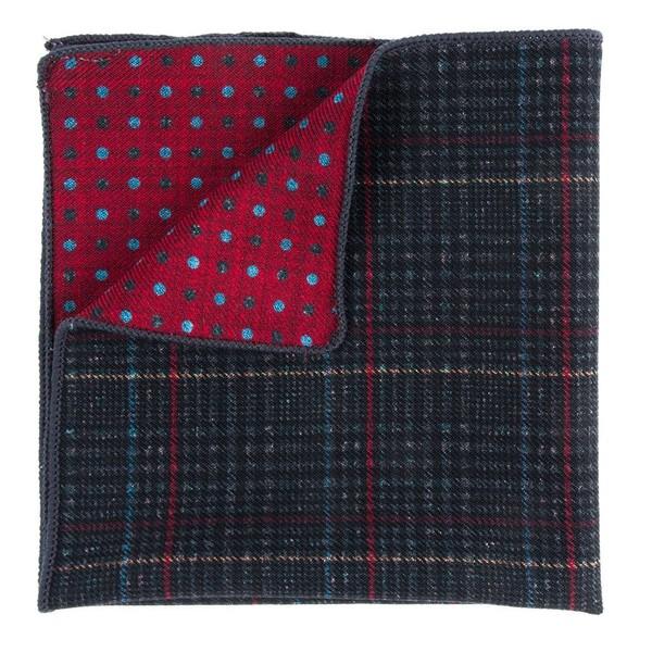 Plaid Flip Charcoal Pocket Square