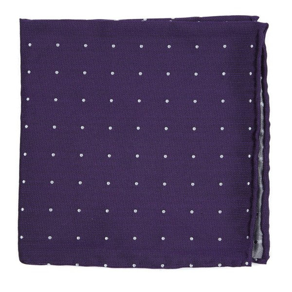 Dotted Report Plum Pocket Square