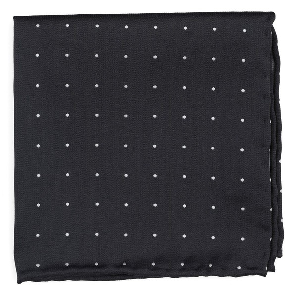 Dotted Report Charcoal Pocket Square