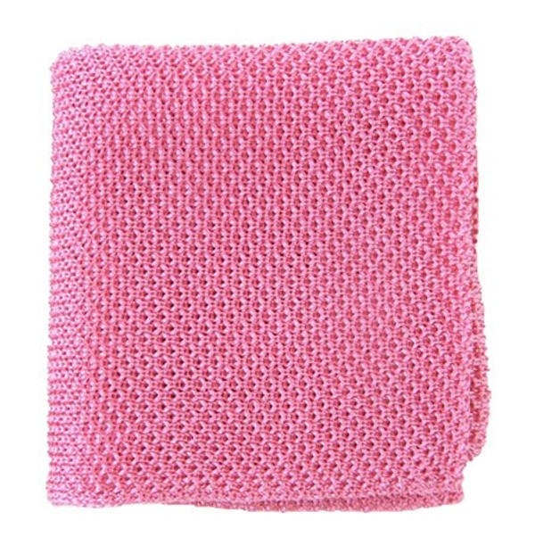 Solid Knit Pink Pocket Square