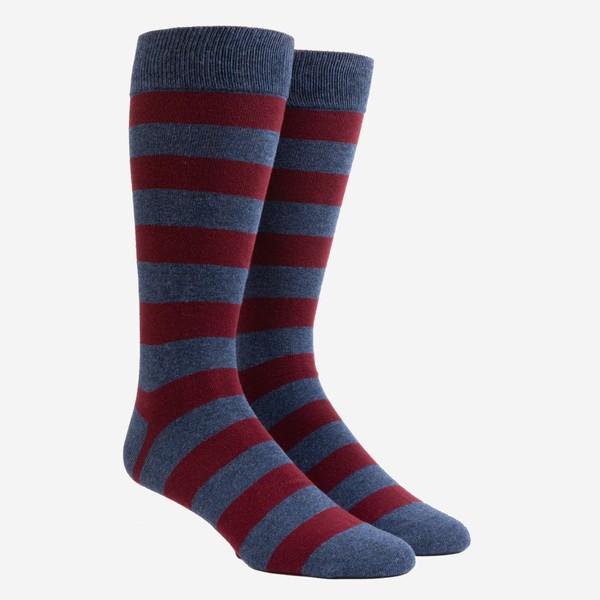 Rugby Stripe Burgundy Dress Socks