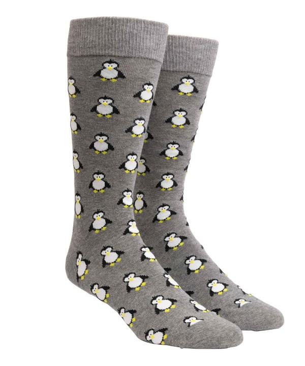Cool Penguins Charcoal Dress Socks