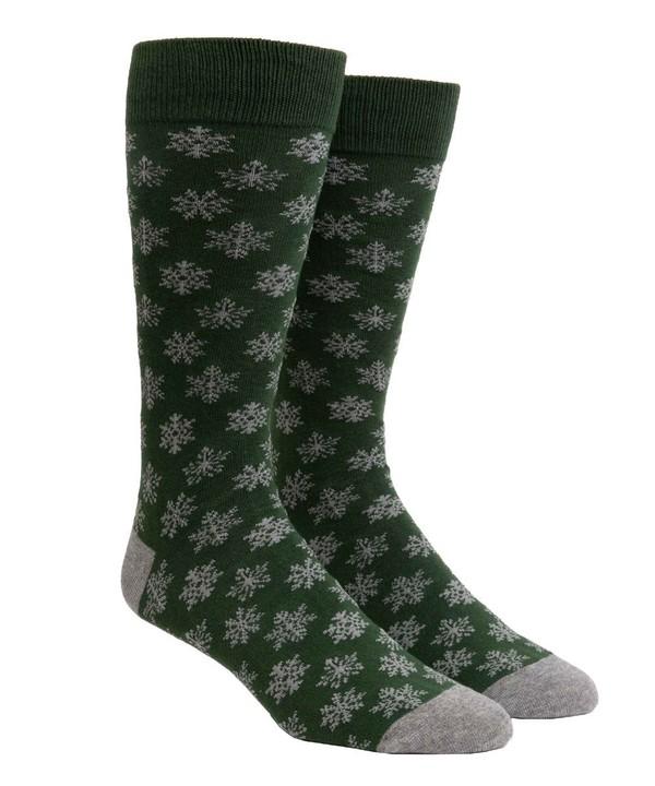 Snowy Snowflakes Hunter Green Dress Socks