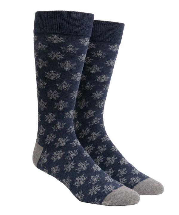 Snowy Snowflakes Navy Dress Socks