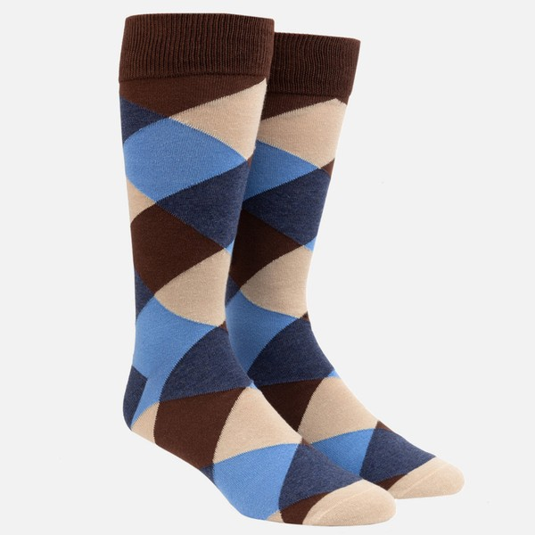 Rohrer Plaid Chocolate Brown Dress Socks