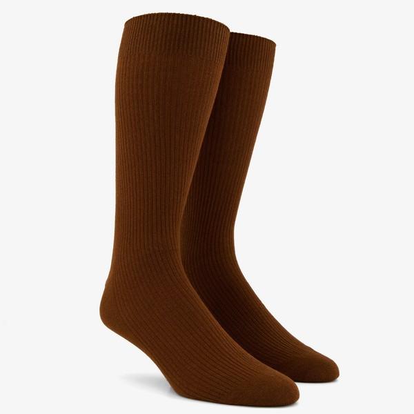 Ribbed Brown Dress Socks