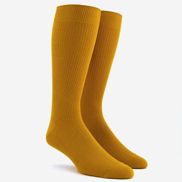 Ribbed Mustard Dress Socks